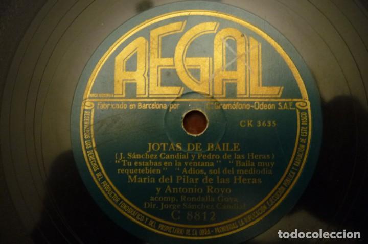Discos de pizarra: JOTAS DE BAILE.- MARIA DEL PILAR DE LAS HERAS - MARIA VIRTO-JESUS GARCIA-ANTONIO ROYO.REGAL - - Foto 3 - 147201982