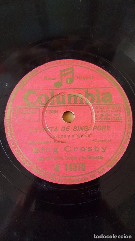 Discos de pizarra: DISCO 78 RPM - COLUMBIA - BING CROSBY - ORQUESTA - FILM - LA RUTA DE SINGAPORE - PIZARRA - Foto 2 - 147285486