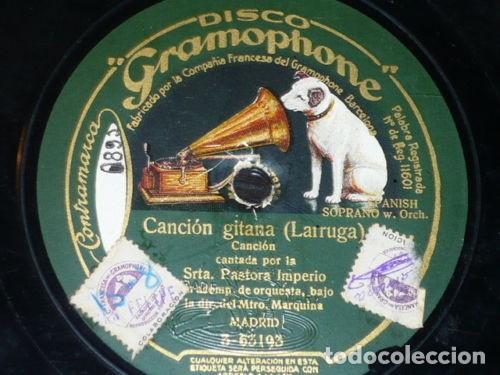 DISCO 78 RPM - GRAMOPHONE - PASTORA IMPERIO - LA PENA PENA - CANCION GITANA - PIZARRA (Música - Discos - Pizarra - Flamenco, Canción española y Cuplé)