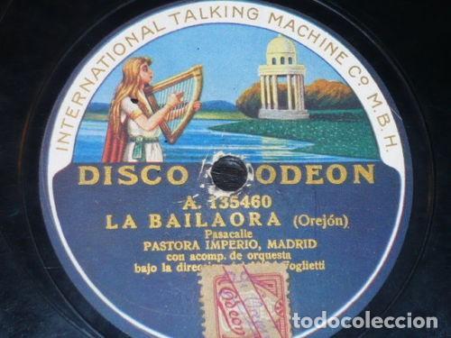 DISCO 78 RPM - ODEON - PASTORA IMPERIO - LA BAILAORA - LA CASCABELETA - PIZARRA (Música - Discos - Pizarra - Flamenco, Canción española y Cuplé)