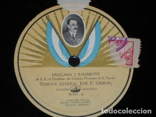 DISCO 78 RPM - VICTOR FOTO ETIQUETA - TENIENTE GENERAL JOSE F. URIBURU - DISCURSO - RARO - PIZARRA (Música - Discos - Pizarra - Otros estilos)