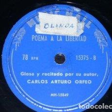 Discos de pizarra: DISCO 78 RPM - MUSIC HALL - CARLOS ARTURO ORFEO - RECITADO - POEMA A LA LIBERTAD - PIZARRA. Lote 147374550