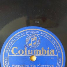 Discos de pizarra: DISCO 78 RPM - COLUMBIA - GABRIEL OLAIZOLA - CANTO POPULAR VASCO - NAGUSIYA ETA MORROYA - PIZARRA. Lote 147437006