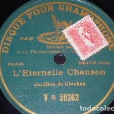 Discos de pizarra: DISCO 78 RPM - PREDOG GRAMOPHONE - CAMPANAS - CARILLON DE CLOCHES - L´ETERNELLE CHANSON - PIZARRA. Lote 147448742
