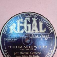 Discos de pizarra: MANUEL CENTENO-TORMENTO-MUY BUEN ESTADO. Lote 147484494
