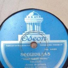 Discos de pizarra: VALLEJO-SEGUIDILLAS-MUY BUEN ESTADO. Lote 147487098