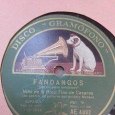 Discos de pizarra: NIÑO DE LA ROSA FINA DE CASARES-CON MI POTRO BANDOLERO-MUY BUEN ESTADO-MUY RARA. Lote 147487914
