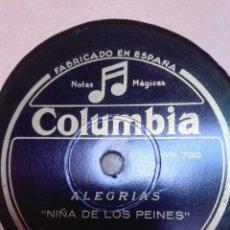Discos de pizarra: NIÑA DE LO PEINES-ALEGRIAS-MUY BUEN ESTADO. Lote 147488298