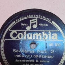 Discos de pizarra: NIÑA DE LOS PEINES-SEVILLANAS NUM 2-MUY BUEN ESTADO. Lote 147488430