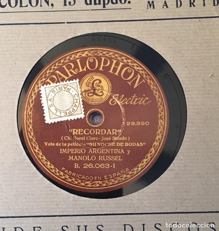 DISCO PIZARRA 78 RPM IMPERIO ARGENTINA, MANOLO RUSSEL, RECORDAR Y CANTARES QUE EL VIENTO LLEVÓ (Música - Discos - Pizarra - Flamenco, Canción española y Cuplé)