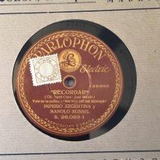 Discos de pizarra: DISCO PIZARRA 78 RPM IMPERIO ARGENTINA, MANOLO RUSSEL, RECORDAR Y CANTARES QUE EL VIENTO LLEVÓ. Lote 147625970