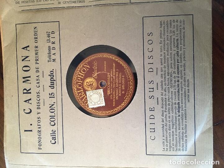 Discos de pizarra: Disco pizarra 78 rpm Imperio Argentina, Manolo Russel, Recordar y Cantares que el viento llevó - Foto 2 - 147625970