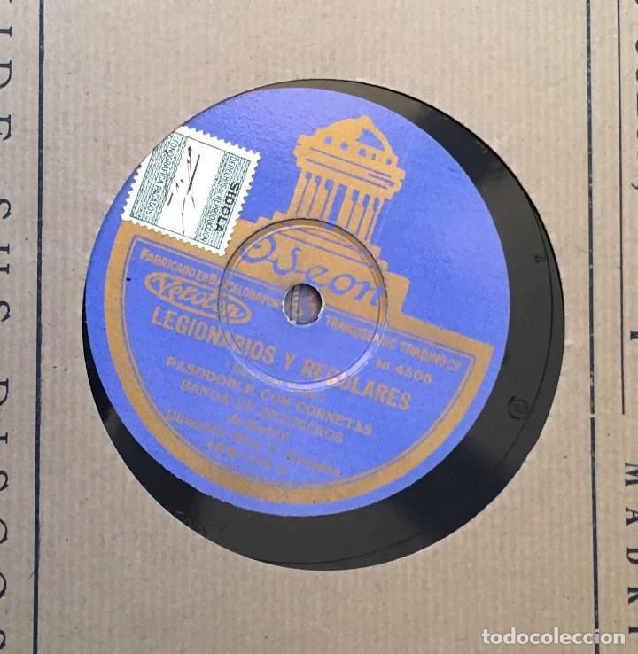 DISCO PIZARRA 78 RPM BANDA DE INGENIEROS, PASODOBLES CON CORNETAS: LEGIONARIOS Y REGULARES, FAGINA (Música - Discos - Pizarra - Clásica, Ópera, Zarzuela y Marchas)