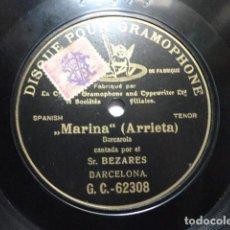 Discos de pizarra: RAFAEL BEZARES - MARINA, BARCAROLA (ARRIETA) - G&T 64202. Lote 147731806