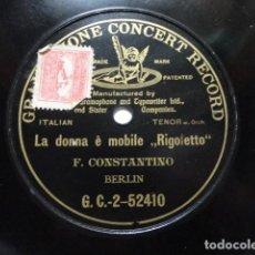Discos de pizarra: FLORENCIO CONSTANTINO - LA DONNA È MOBILE - GRAMPHONE CONCERT RECORD G.C 2-52410. Lote 147734906