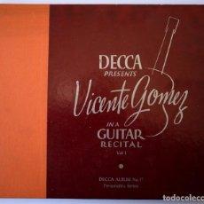 Discos de pizarra: VICENTE GÓMEZ RECITAL DE GUITARRA - ALBUM CON TRES DISCOS DE PIZARRA - DECCA (USA) AÑOS 40. Lote 148048766