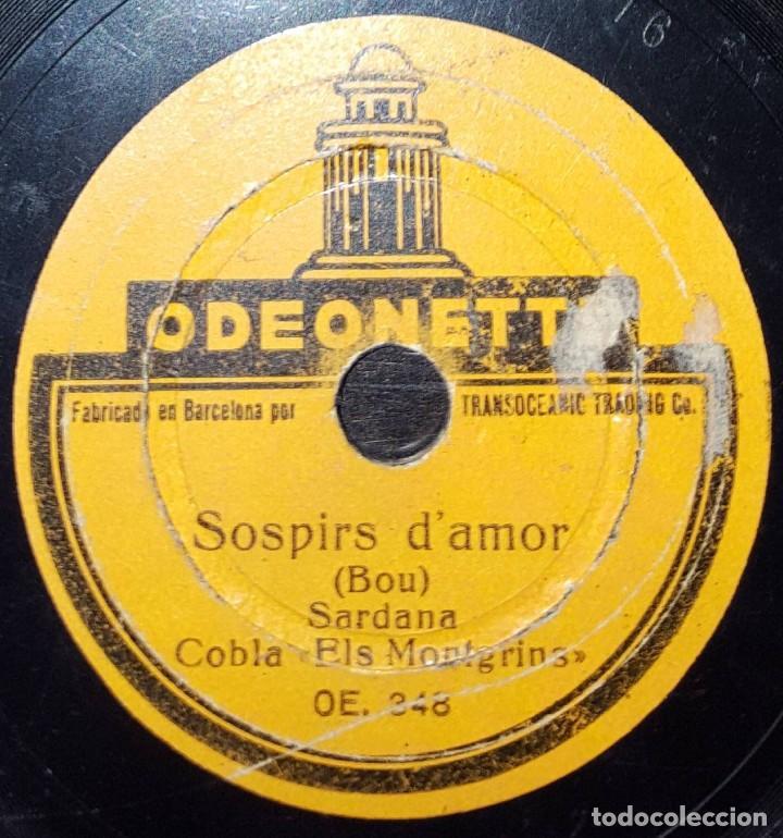 DISCO 78 RPM - ODEONETTE 15 CM - COBLA ELS MONTGRINS - SARDANA - BOU - CATALUÑA - PIZARRA (Música - Discos - Pizarra - Flamenco, Canción española y Cuplé)
