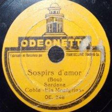 Discos de pizarra: DISCO 78 RPM - ODEONETTE 15 CM - COBLA ELS MONTGRINS - SARDANA - BOU - CATALUÑA - PIZARRA. Lote 148136910