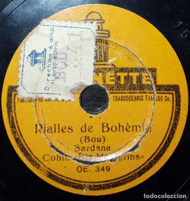 Discos de pizarra: DISCO 78 RPM - ODEONETTE 15 CM - COBLA ELS MONTGRINS - SARDANA - BOU - CATALUÑA - PIZARRA - Foto 2 - 148136910