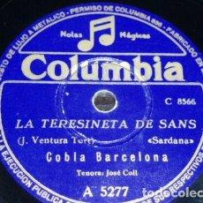 Discos de pizarra: DISCO 78 RPM - COLUMBIA - COBLA BARCELONA - JOSE COLL - SARDANA - CATALUÑA - PIZARRA. Lote 148137890