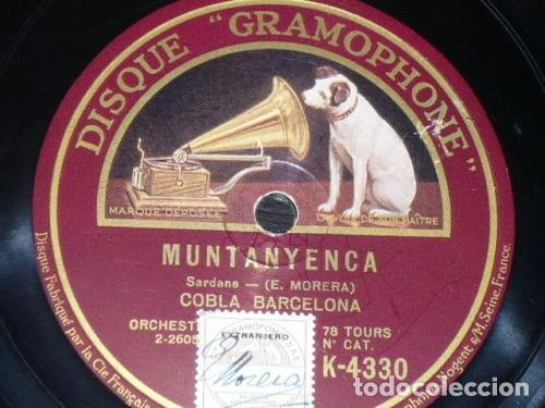 DISCO 78 RPM - GRAMOPHONE - COBLA BARCELONA - SARDANA - MUNTANYENCA - MORERA - PIZARRA (Música - Discos - Pizarra - Flamenco, Canción española y Cuplé)