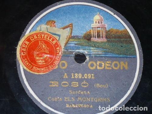 DISCO 78 RPM - ODEON - COBLA ELS MONTGRINS - SARDANA - BOU - ROSO - BARCELONA - PIZARRA (Música - Discos - Pizarra - Flamenco, Canción española y Cuplé)