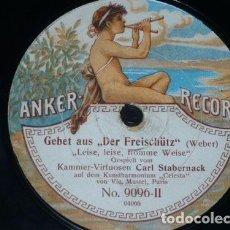 Discos de pizarra: DISCO 78 RPM - ANKER - CARL STABERNACK - CELESTE - LITANEI - SCHUBERT - FREISCHUTZ - WEBER - PIZARRA. Lote 148160602