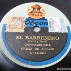Discos de pizarra: DISCO DE PIZARRA DE OFELIA DE ARAGÓN CARTAGENERA / CARRERO ARGENTINO. Lote 148563058