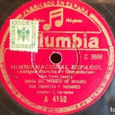 Discos de pizarra: PIZARRA !! HIMNO NACIONAL ESPAÑOL / BANDA DEL REQUETÉ DE NAVARRA / COLUMBIA - 25 CM / BUENA CALIDAD.. Lote 148643398