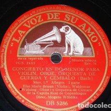 Discos de pizarra: 2 DISCOS 78 RPM - VSA - ELSE MARIE BRUUN - WALDEMAR WOLSING - ORQUESTA - CONCERTO - BACH - PIZARRA. Lote 148766270