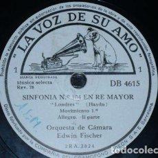 Discos de pizarra: 3 DISCOS 78 RPM - VSA - ORQUESTA DE CAMARA EDWIN FISCHER - LONDON SYMPHONY - HAYND - PIZARRA. Lote 148768346