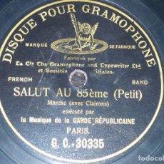 Discos de pizarra: DISCO 78 RPM - G&T BLACK - LA GARDE REPUBLICAINE - PARIS - PETIT - CORNETAS - PIZARRA. Lote 148775566