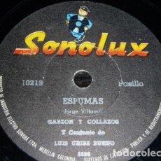 Discos de pizarra: DISCO 78 RPM - SONOLUX - GARZON Y COLLAZOS - COLOMBIA - LUIS URIBE BUENO - PASILLO - PIZARRA. Lote 148778898