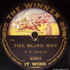 Discos de pizarra: DISCO 78 RPM - THE WINNER - G. H. CHIRWING - COMEDIA - THE BLIND BOY - ASLEEP IN THE DEEP - PIZARRA. Lote 148779882