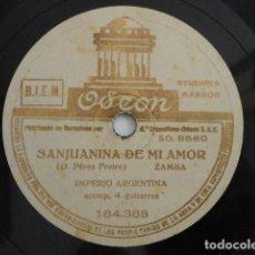 Discos de pizarra: IMPERIO ARGENTINA - SANJUANINA DE MI AMOR / !AY MI SUEGRA! - ODEON 184.388. Lote 148824266