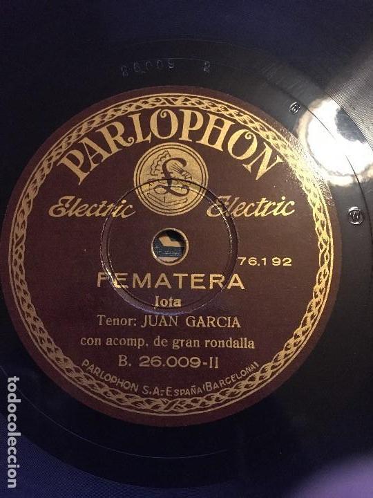 DISCO PIZARRA 78 RPM JOTAS, TENOR: JUAN GARCIA. CANCIONES: EL SENTIMIENTO, LA PARRA Y PEMATERRA (Música - Discos - Pizarra - Flamenco, Canción española y Cuplé)