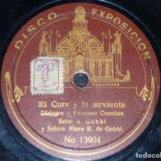 Discos de pizarra: DISCO 78 RPM - DISCO EXPOSICION - ALFREDO GOBBI - FLORA GOBBI - COMICO - ETIQUETA RARA - PIZARRA. Lote 148888034