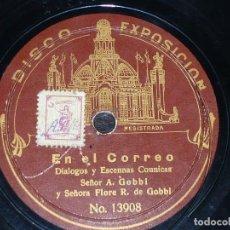 Discos de pizarra: DISCO 78 RPM - DISCO EXPOSICION - ALFREDO GOBBI - FLORA GOBBI - COMICO - ETIQUETA RARA - PIZARRA. Lote 148888798