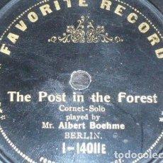 Discos de pizarra: DISCO 78 RPM - FAVORITE - ALBERT BOEHME - TAEUBIG - CORNETA SOLO - THE POST IN THE FOREST - PIZARRA. Lote 148894246
