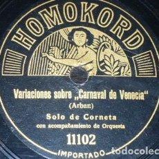 Discos de pizarra: DISCO 78 RPM - HOMOKORD - SOLO DE CORNETA - CARNAVAL DE VENECIA - ARBAN - ALEMANIA - POLKA - PIZARRA. Lote 148895858