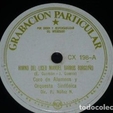 Discos de pizarra: DISCO 78 RPM - GRABACION PARTICULAR - Z. DERPIC - ORQ. SINFONICA - CANCION DE CUNA - CORO - PIZARRA. Lote 148897122