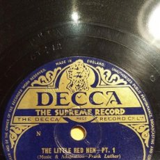 Discos de pizarra: DISCO 78 RPM - DECCA - FRANK LUTHER - COUNTRY - MILT HERTH - ORGANO - THE LITTLE RED HEN - PIZARRA. Lote 148898370