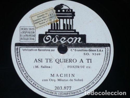 DISCOS 78 RPM - ODEON - ANTONIO MACHIN - ORQUESTA MIURAS DE SOBRE - NOCHE TRISTE - PIZARRA (Música - Discos - Pizarra - Solistas Melódicos y Bailables)
