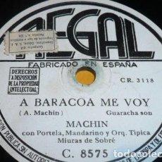 Discos de pizarra: DISCO 78 RPM - REGAL - ANTONIO MACHIN - ORQ. MIURAS DE SOBRE - GUARACHA - A BARACOA ME VOY - PIZARRA. Lote 148908570