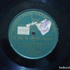 Discos de pizarra: STAS BENITEZ Y DOMINGO. EL MAL DE AMORES. ROTURA EN BORDE, VER FOTO. Lote 148951050