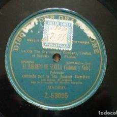 Discos de pizarra: JUANA BENITEZ. EL BARBERO DE SEVILLA. MUY LEVEMENTE DOBLADO. Lote 149291542