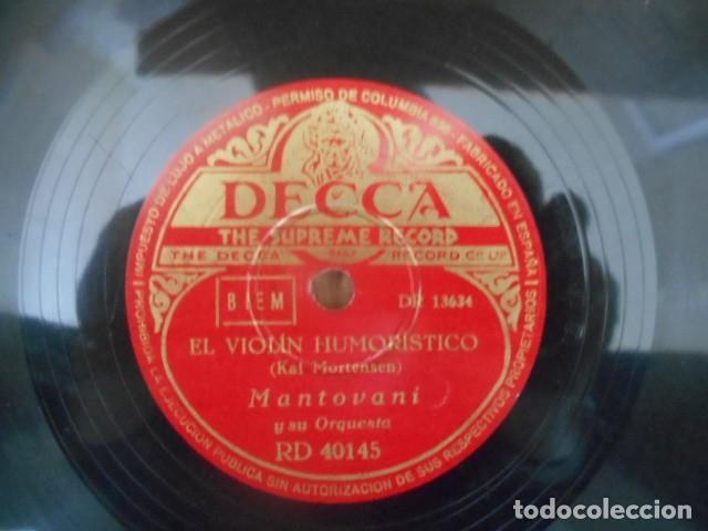 Discos de pizarra: DISCO PIZARRA DECCA , RD 40145 , EL VIOLÍN HUMORÍSTICO AMANTE CELOSO , MANTOVANI . - Foto 2 - 149477758