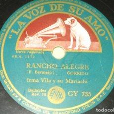 Discos de pizarra: IRMA VILA - RANCHO ALEGRE - LA LLORONA . Lote 149634342