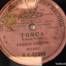 Discos de pizarra: ENRICO CARUSO, E LUCEAN LE ESTELLE, TOSCA, UNA CARA, PIZARRA 25 CMS. Lote 149754386