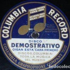 Discos de pizarra: DISCO 78 RPM - COLUMBIA - DISCO DEMOSTRATIVO - ACUSTICO - RARO - PIZARRA. Lote 149785874